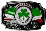 Ireland Fighting Irish Flags Drums Belt Buckle with display stand. Code BB6